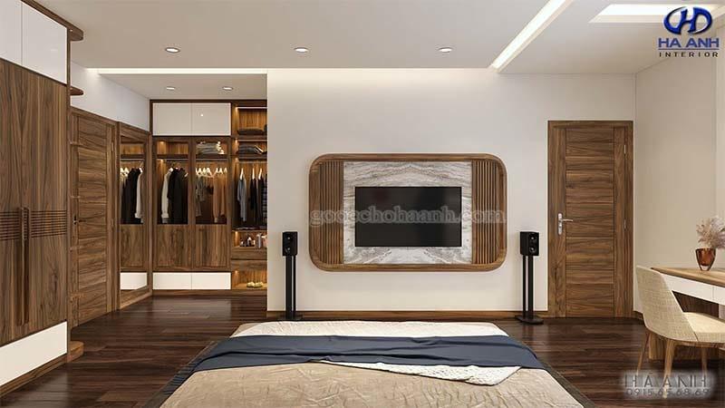 Thiết kế phòng ngủ gỗ óc chó theo phong cách sang trọng và ấm cúng