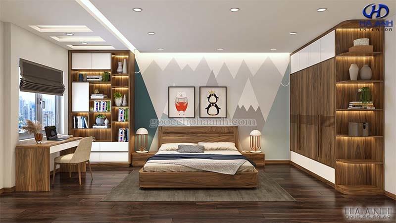 Giường ngủ gỗ óc chó tự nhiên HN 6013