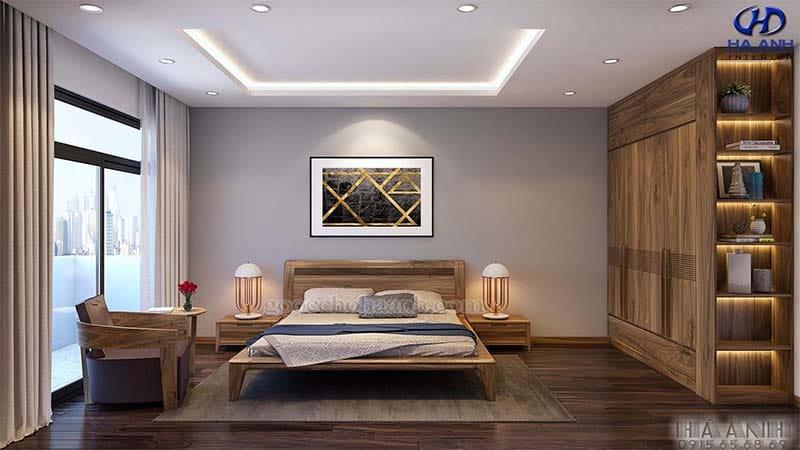 giường gỗ óc chó tự nhiên hà anh HN-6016
