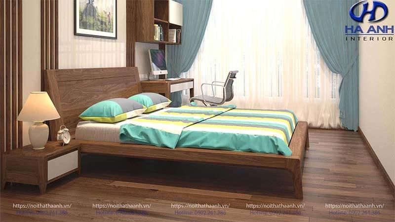 Phòng ngủ mang phong cách quyến rũ nội thất gỗ óc chó hà anh