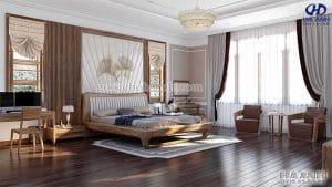 Giường ngủ gỗ óc chó tự nhiên HN 6021 sang trọng