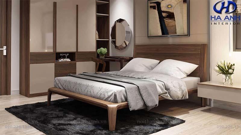 Giường ngủ gỗ óc chó tự nhiên HN-603