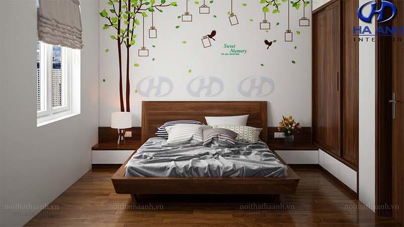 Giường ngủ gỗ óc chó tự nhiên HN-604