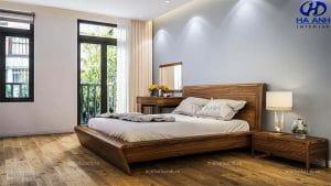 Giường ngủ gỗ óc chó tự nhiên HN-605