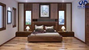 Giường ngủ gỗ óc chó tự nhiên HN-606
