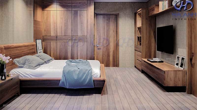 Thiết kế phòng ngủ gỗ óc chó cho không gian nhỏ hẹp