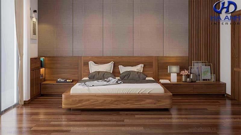 Giường ngủ gỗ óc chó theo xu hướng Nhật Bản