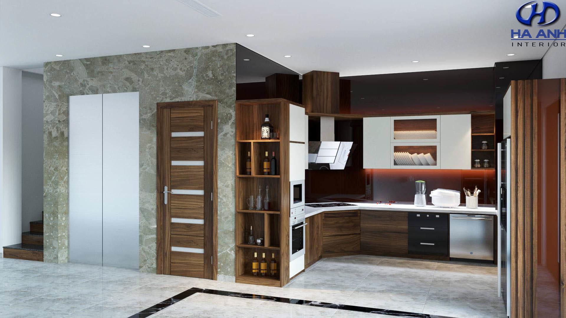 Phòng bếp gỗ óc chó nhà anh huy pandora