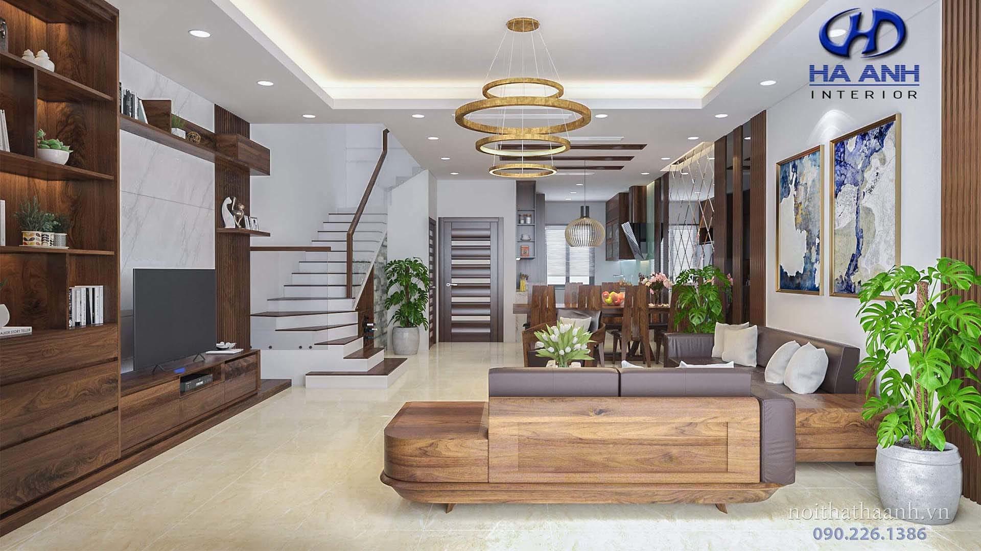 nội thất gỗ óc chó phòng khách đẹp và sang trọng
