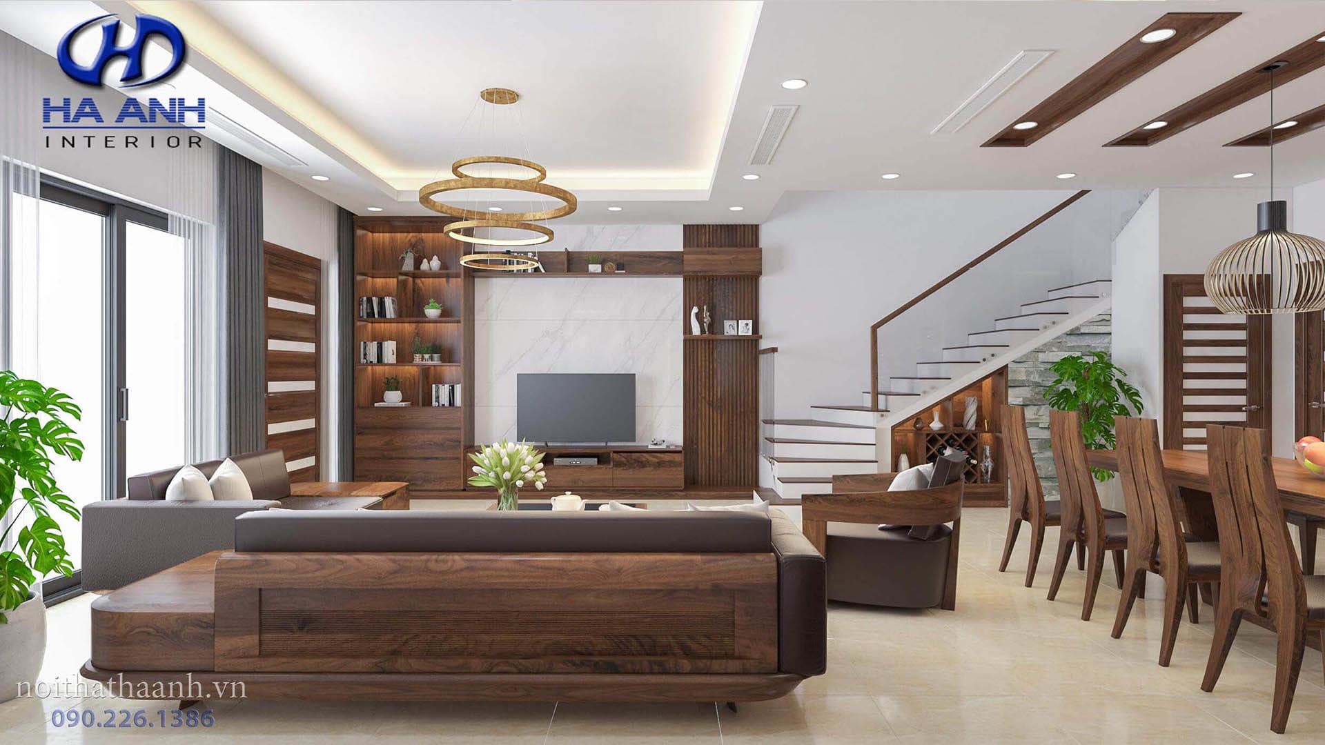 không gian nội thất phòng khách gỗ tự nhiên cao cấp