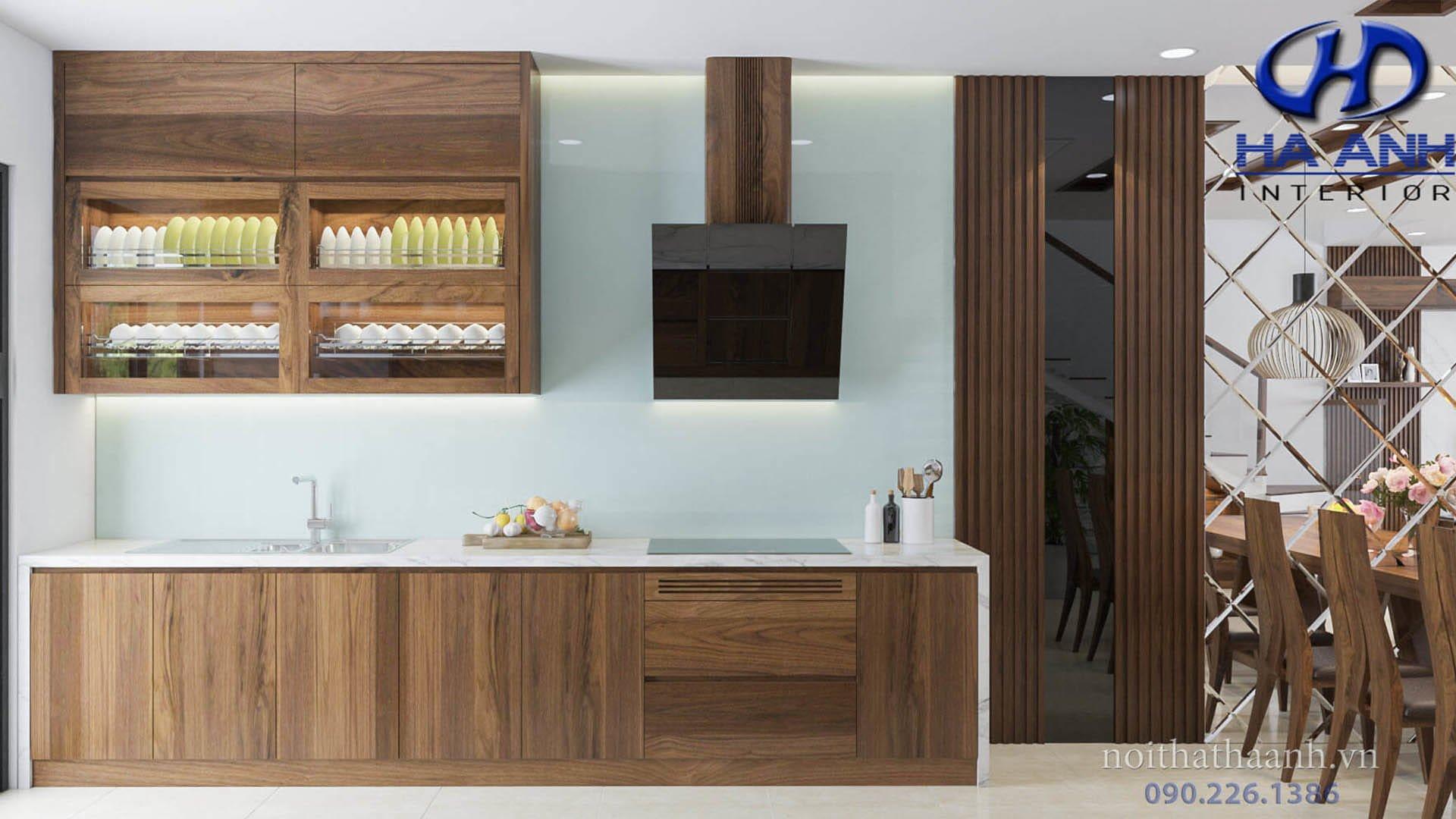 Phòng Bếp Gỗ Óc Chó Mang Phong Cách Hiện Đại