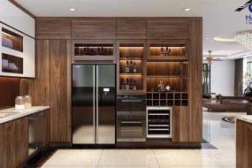 Phòng khách bếp gỗ óc chó biệt thự vinhome