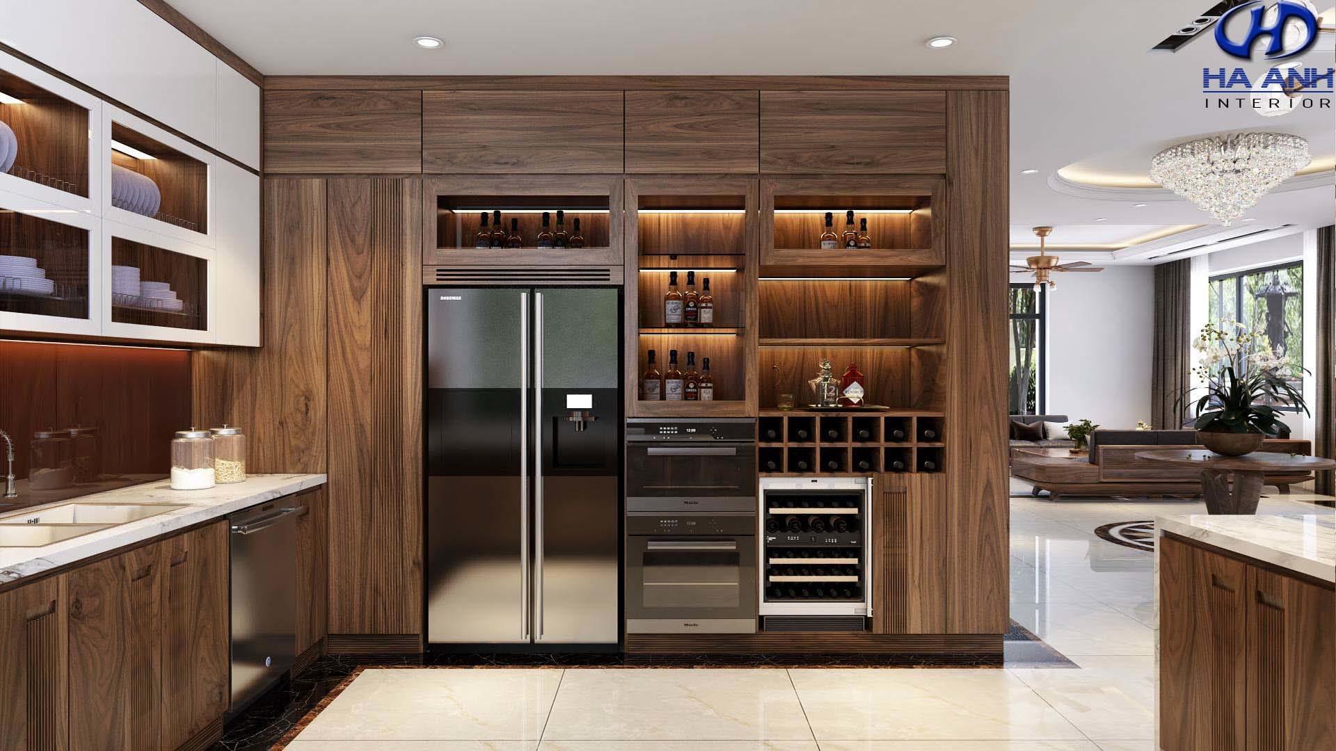 Phòng bếp gỗ óc chó nhà anh hùng vinhomes
