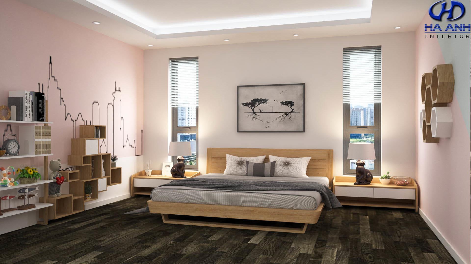 Thiết kế phòng ngủ gỗ óc chó theo phong cách đơn giản, nhẹ nhàng