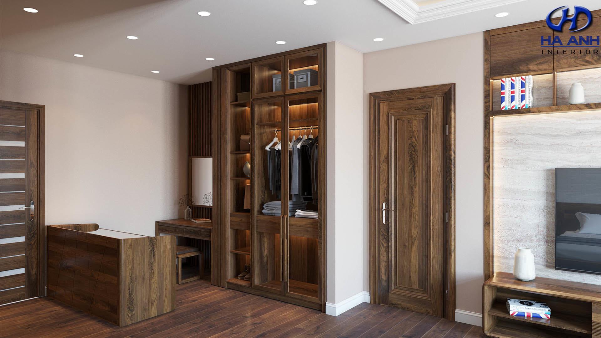 Mẫu tủ áo gỗ óc chó phù hợp với không gian phòng ngủ 4