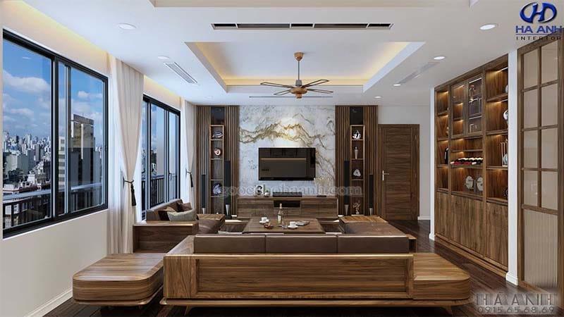 Sofa gỗ óc chó tự nhiên HK 6010