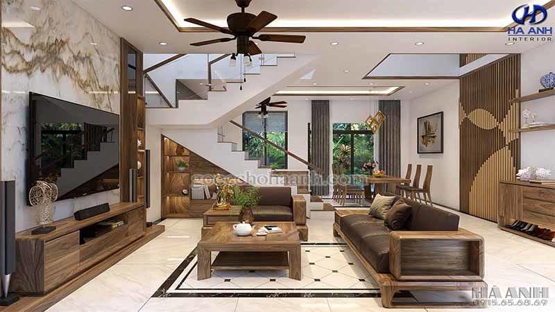 bộ sofa gỗ óc chó tự nhiên HK-6014
