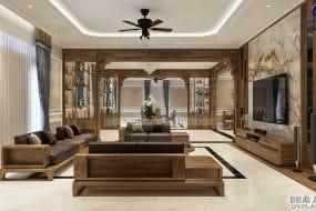 Nội thất gỗ óc chó biệt thự Ninh Bình