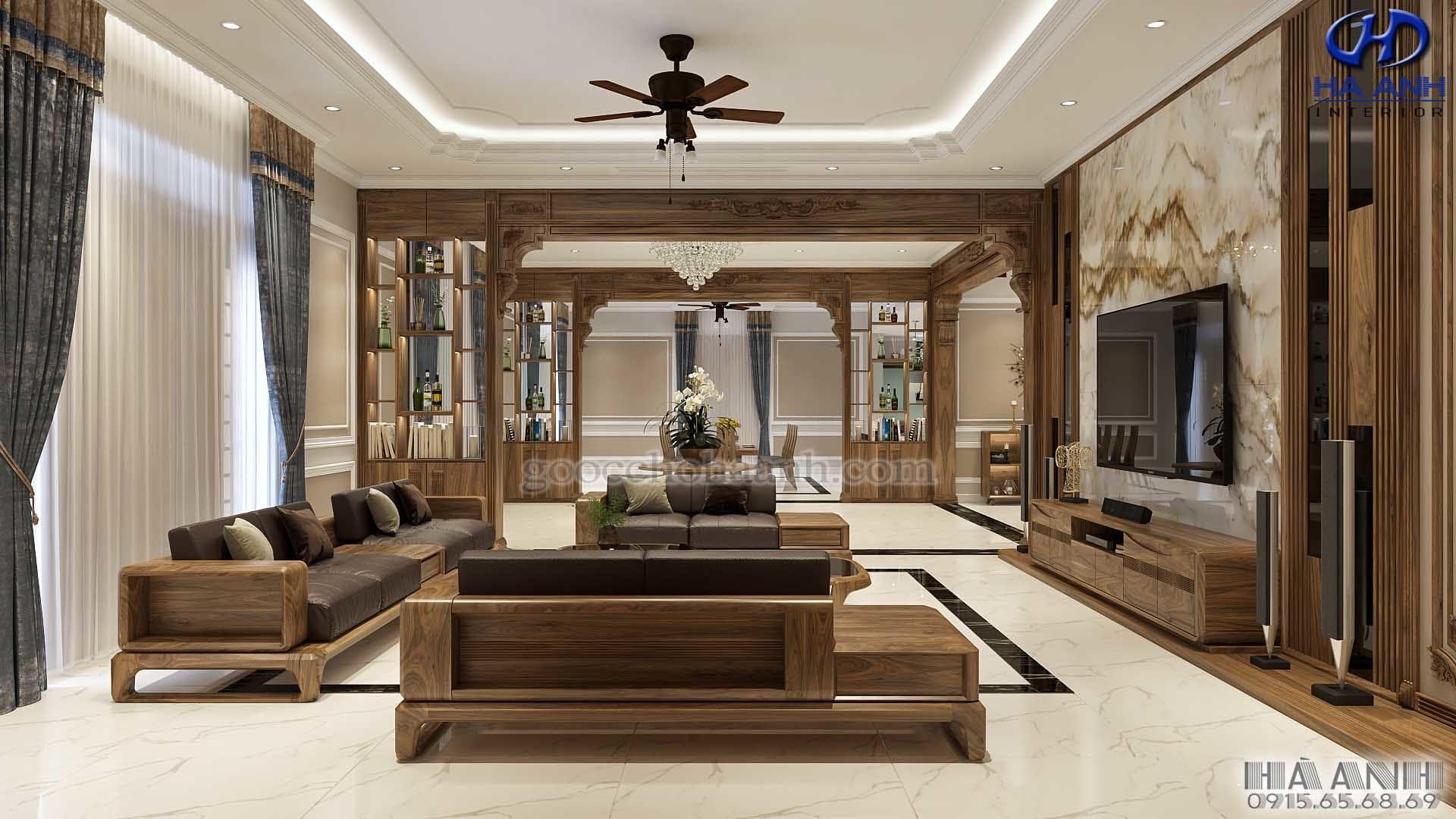 Nội thất gỗ óc chó nhà anh Tuấn – Biệt Thự Ninh Bình