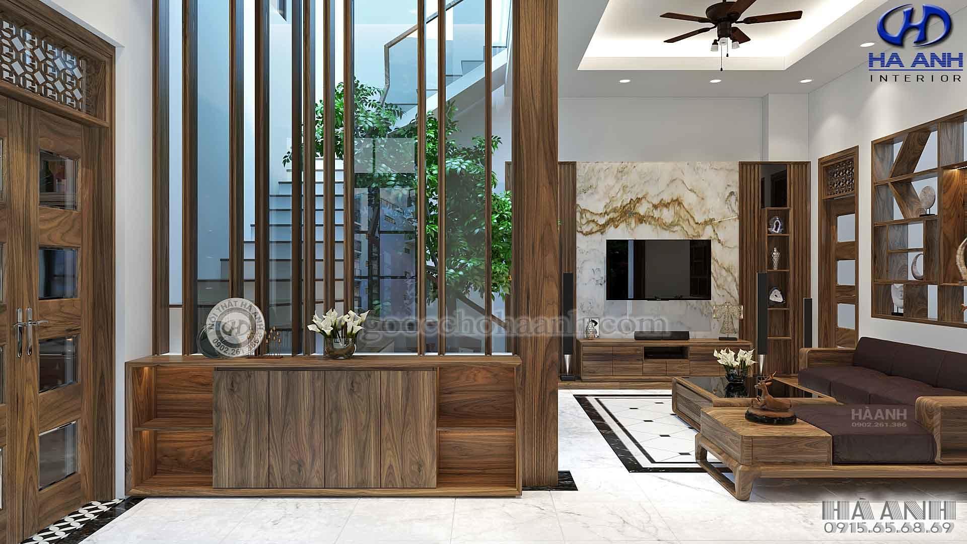 Nội thất gỗ óc chó nhà anh Long – Biệt Thự An Khánh