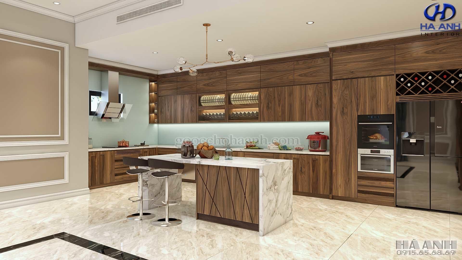 tủ bếp gỗ óc chó tự nhiên HB 6012
