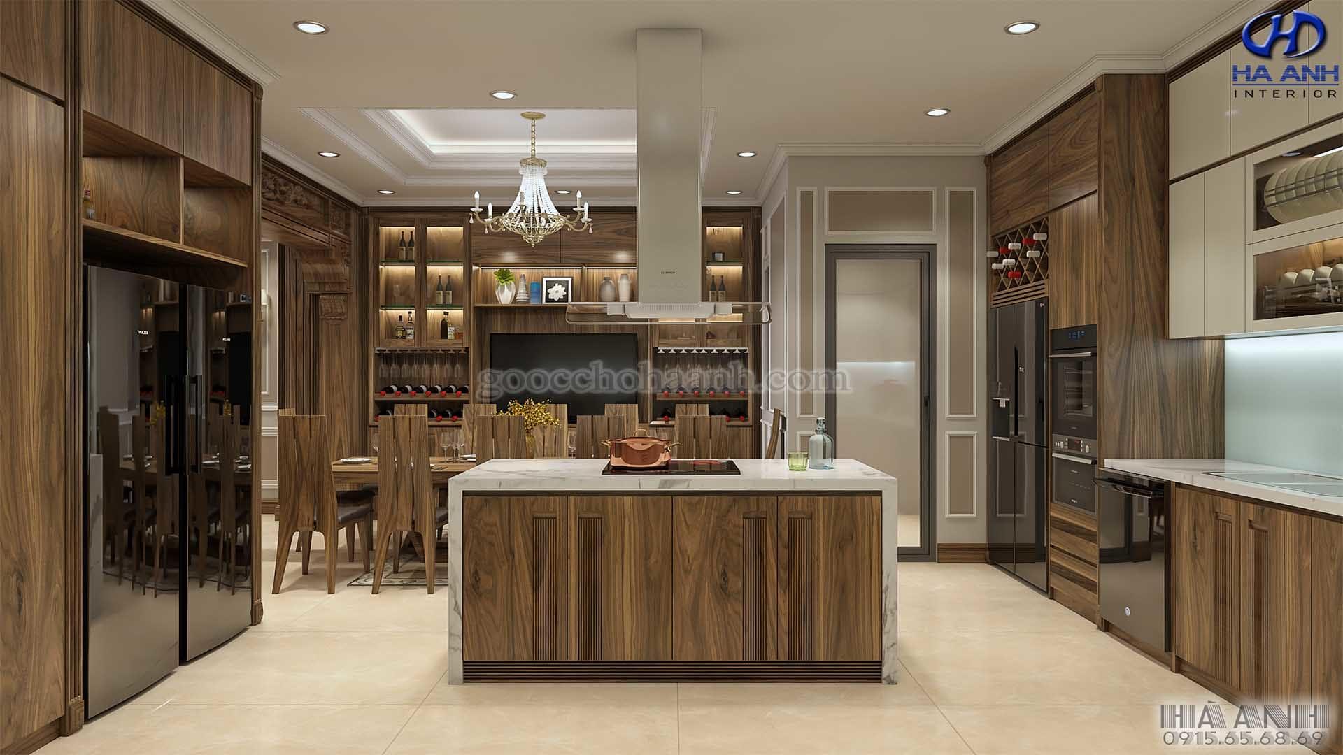 Phòng bếp gỗ óc chó biệt thự Pandora