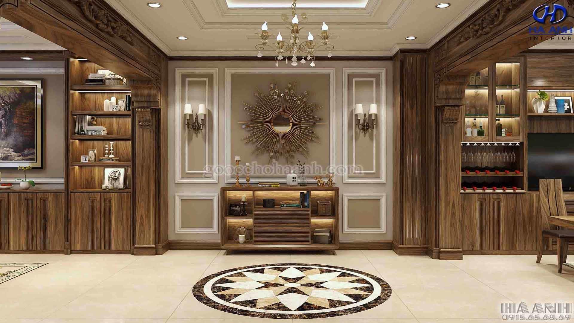 Không gian phòng khách liền bếp gỗ óc chó biệt thự Pandora