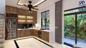 Phòng khách bếp gỗ óc chó biệt thự Hải Phòng