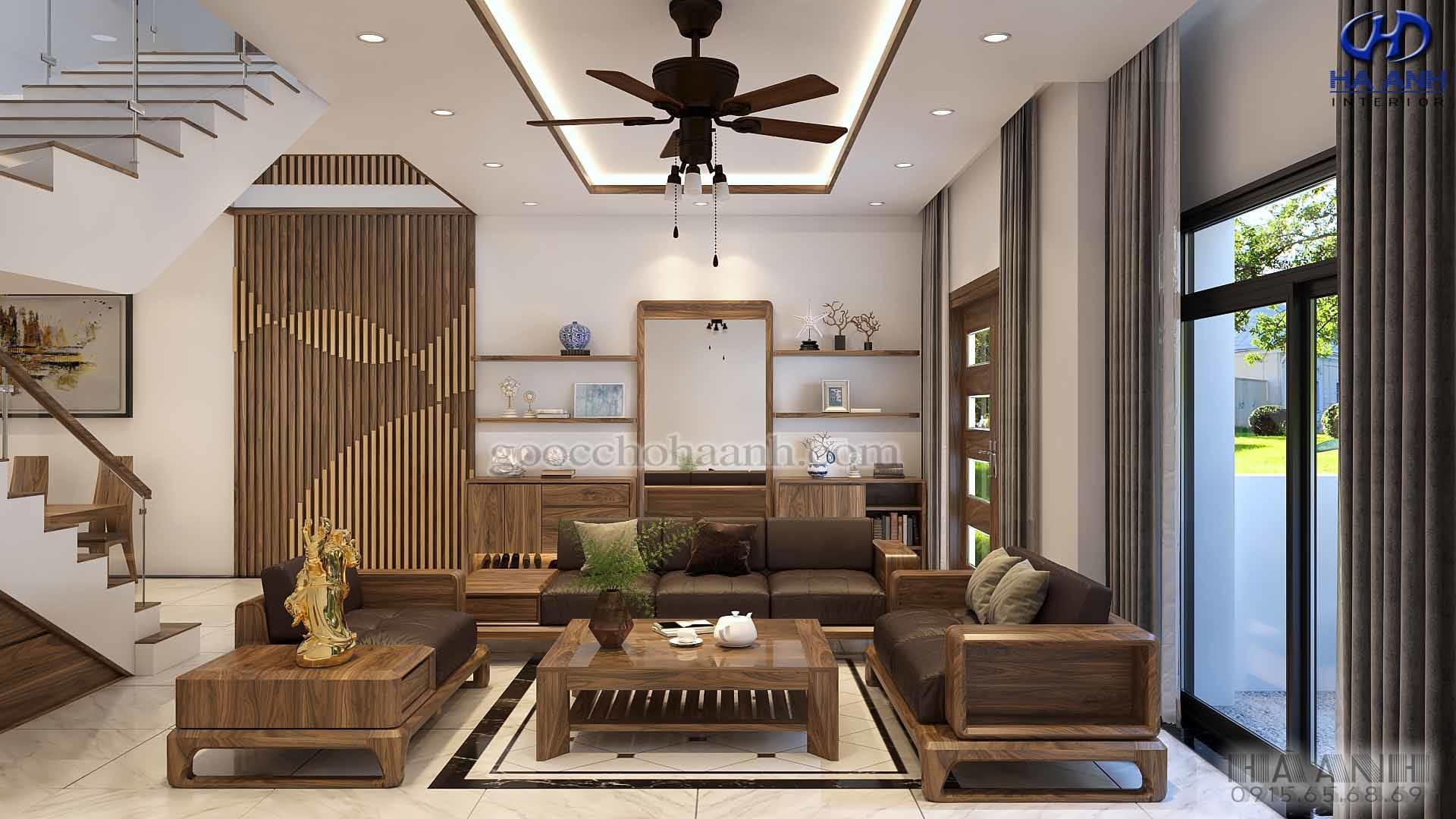 TOP 6 mẫu sofa gỗ óc chó thay đổi hoàn toàn nội thất nhà bạn