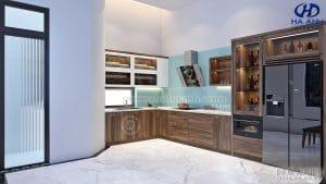 Không gian phòng khách bếp gỗ óc chó biệt thự an khánh