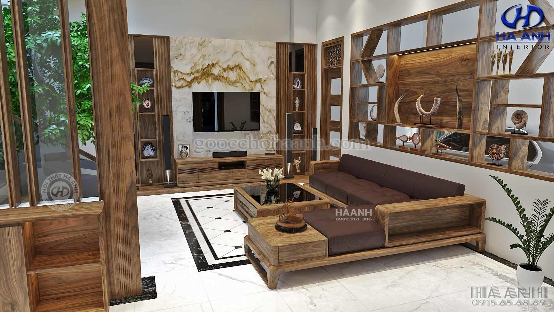 Sofa gỗ óc chó tự nhiên HK 607