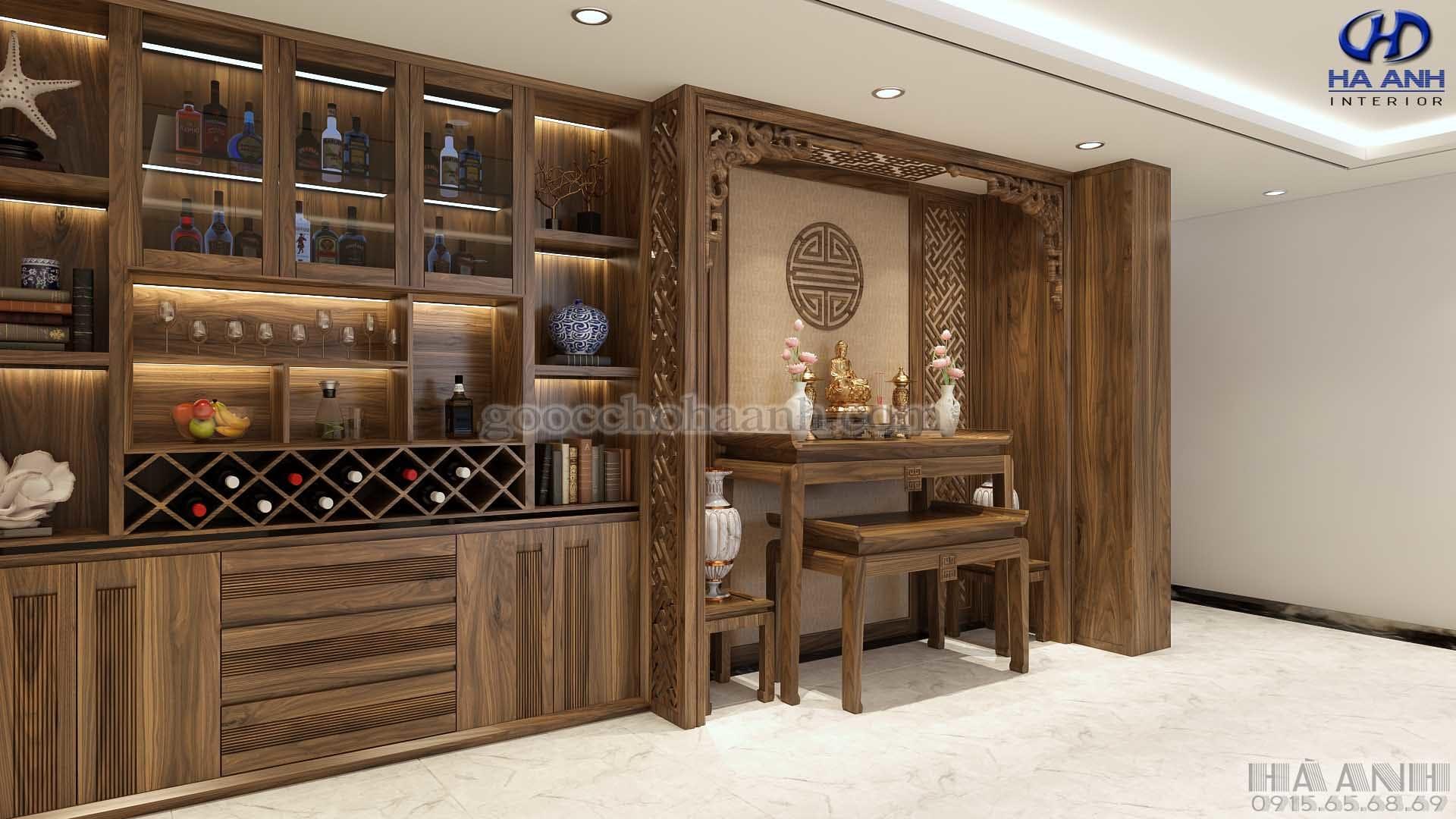 Tủ rượu gỗ óc chó tự nhiên HB 903