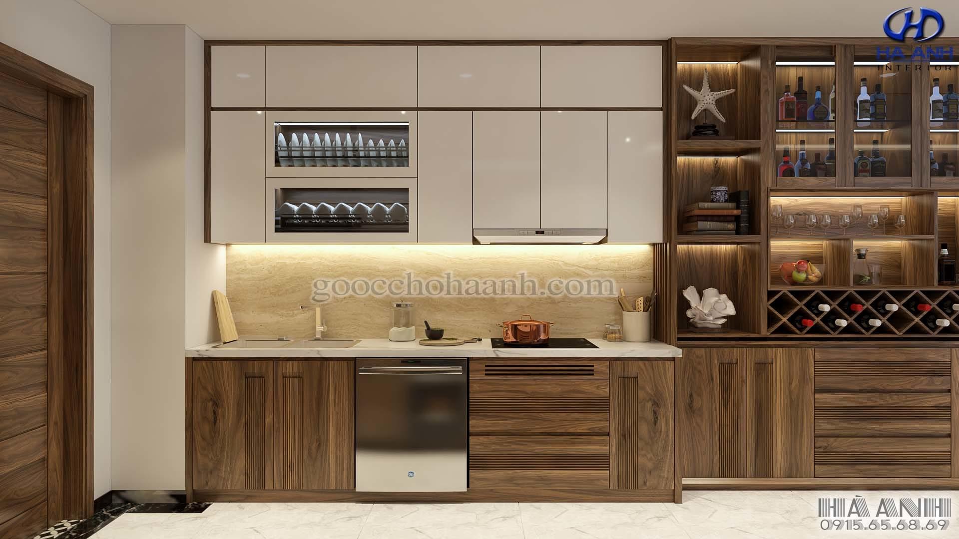 tủ bếp gỗ óc chó tự nhiên hà anh HB-605