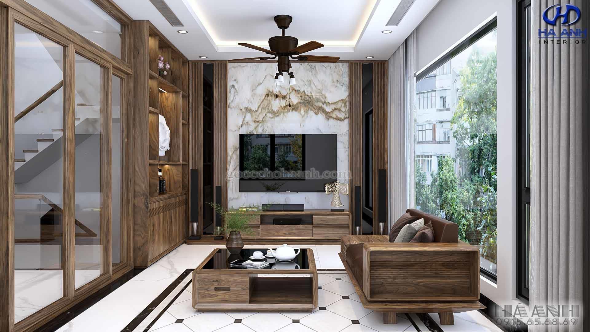 Nội thất gỗ óc chó nhà chị Nga - Vinhomes Long Biên