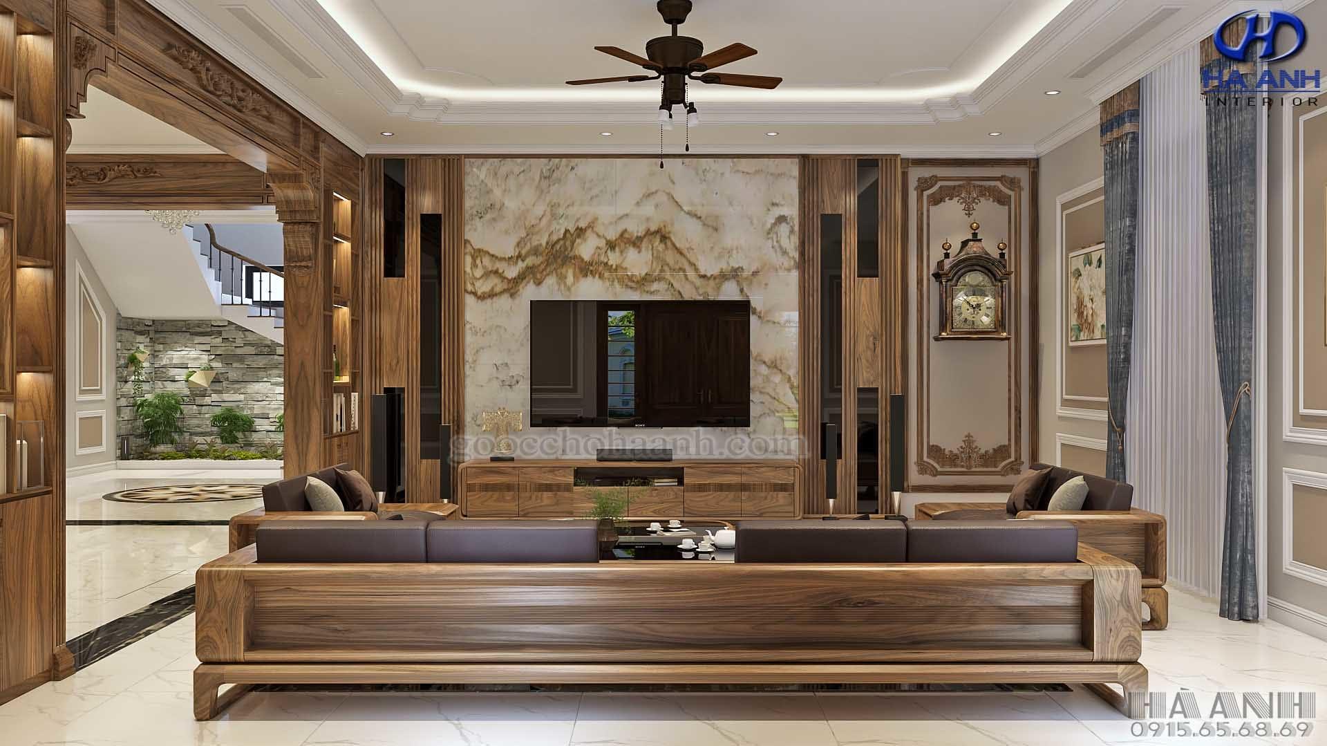 sofa gỗ óc chó tự nhiên hk 6015