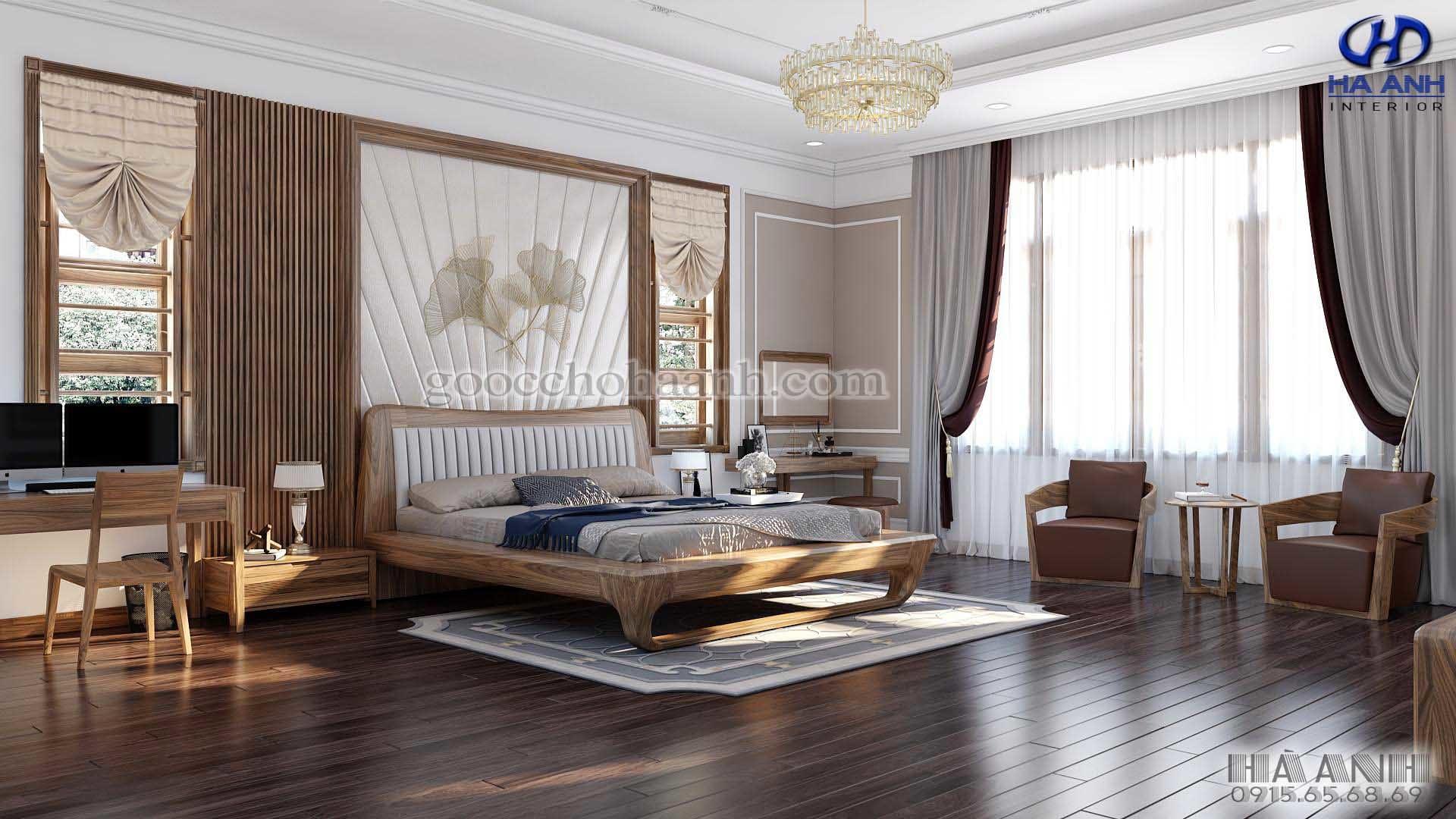 Giường ngủ gỗ óc chó tự nhiên HN 6020