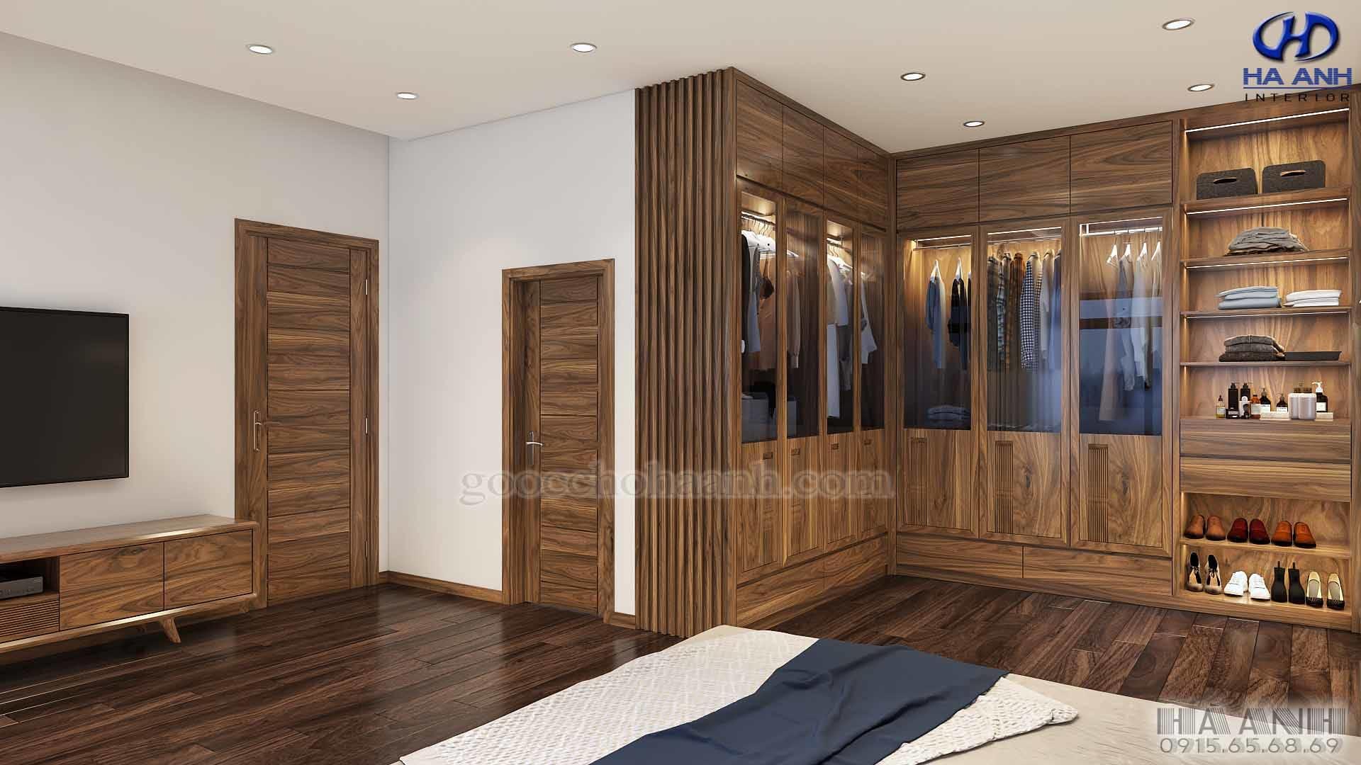 Nội thất gỗ óc chó nhà anh Long - Biệt Thự An Khánh