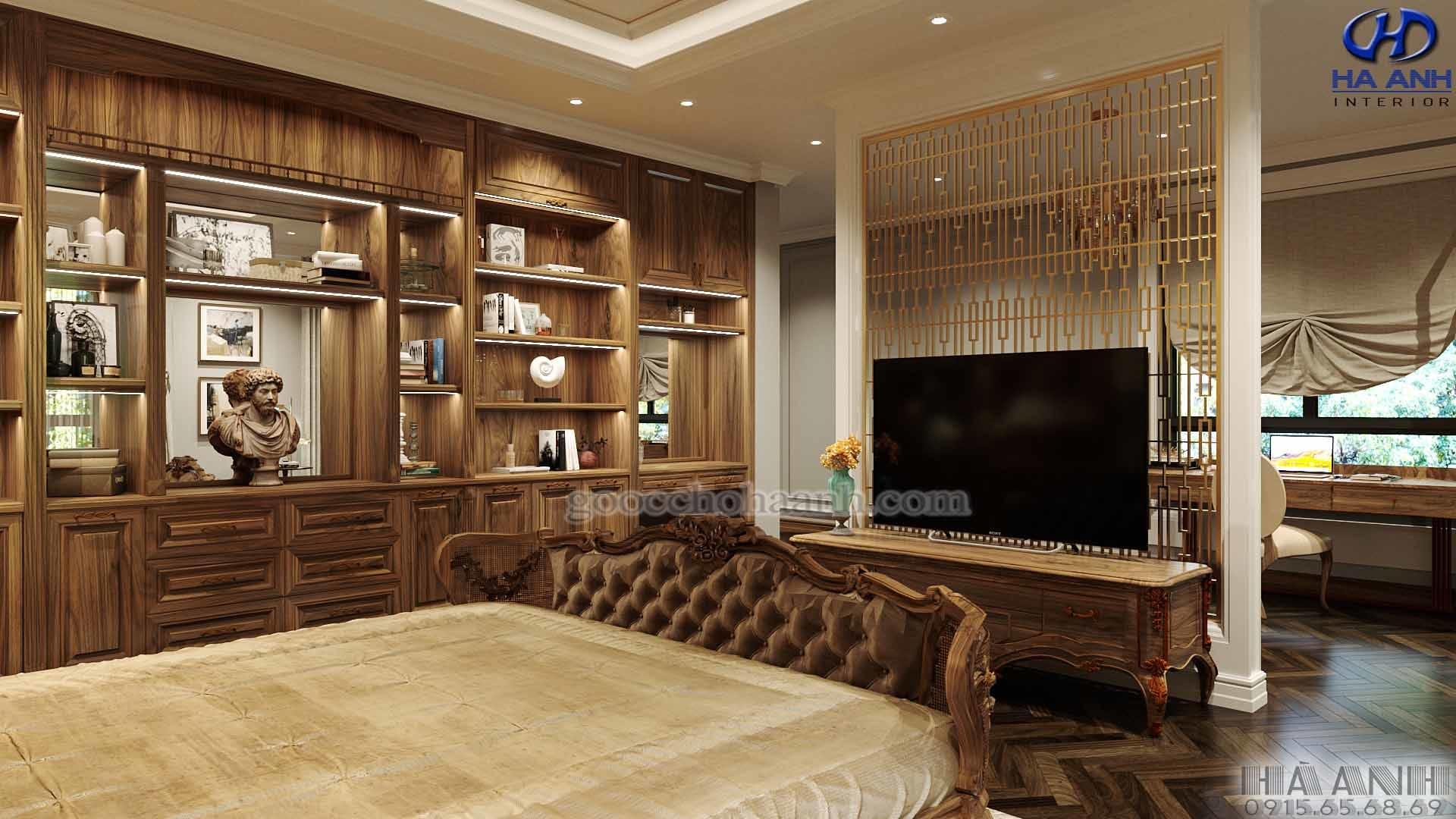 Phòng ngủ master gỗ óc chó biệt thự vinhome Long biên