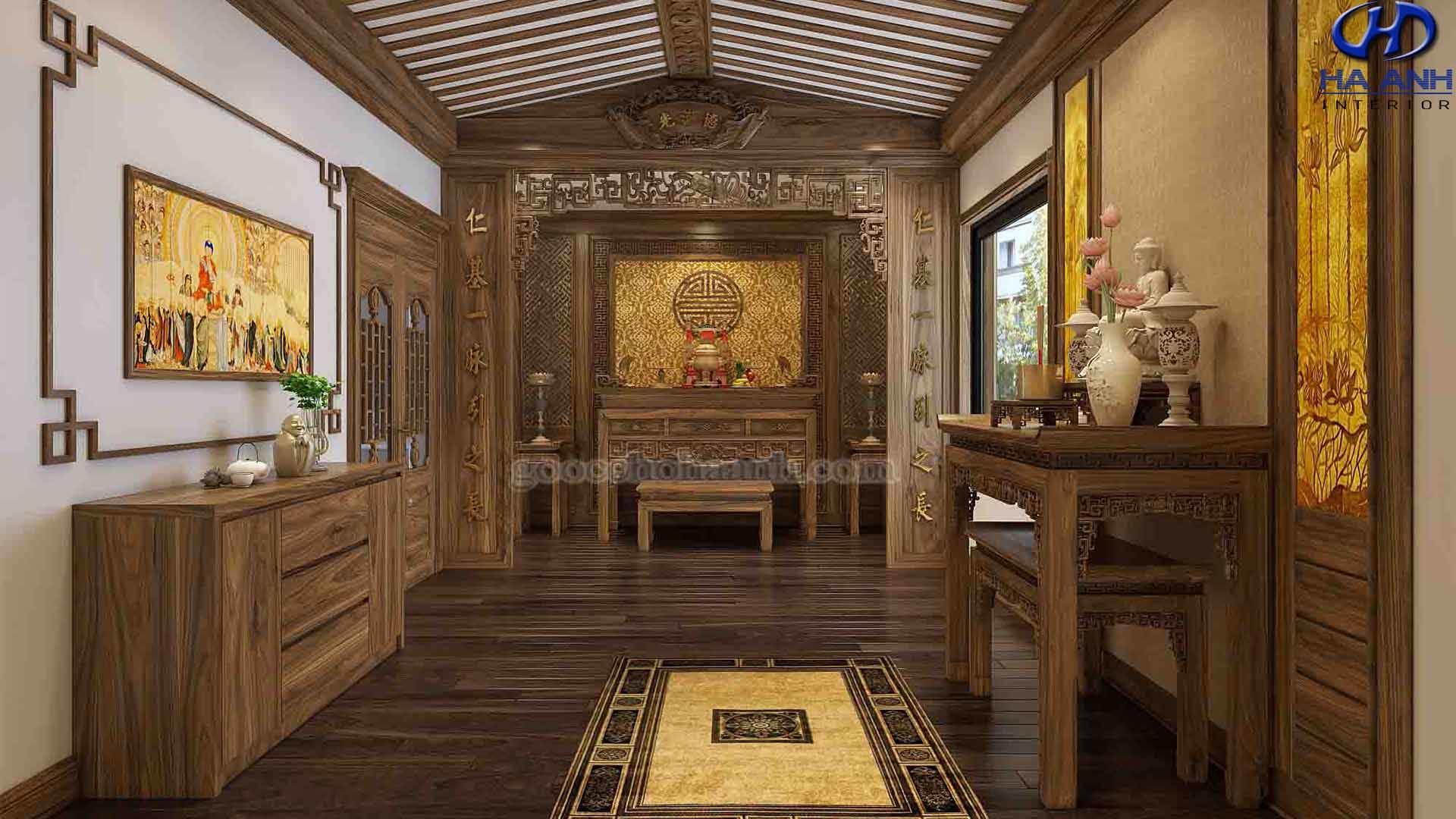Phòng thờ gỗ óc chó biệt thự Pandora
