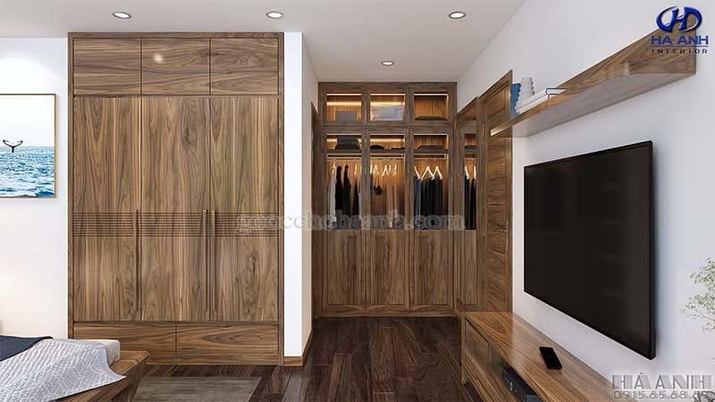 Tủ áo thích hợp cho phòng ngủ hẹp nội thất gỗ óc chó hà anh