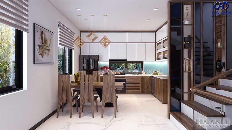 Tủ bếp gỗ óc chó HB 6010 view 1