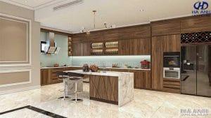 Tủ bếp gỗ óc chó HB 6012