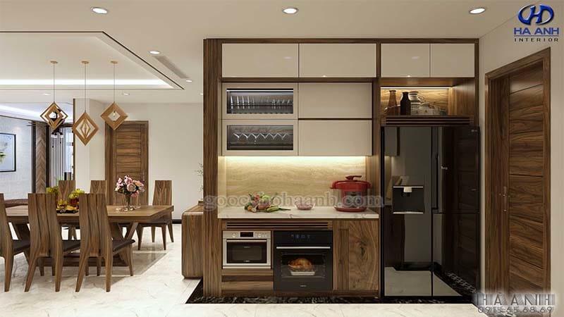 Tủ bếp gỗ óc chó tự nhiên HB 605