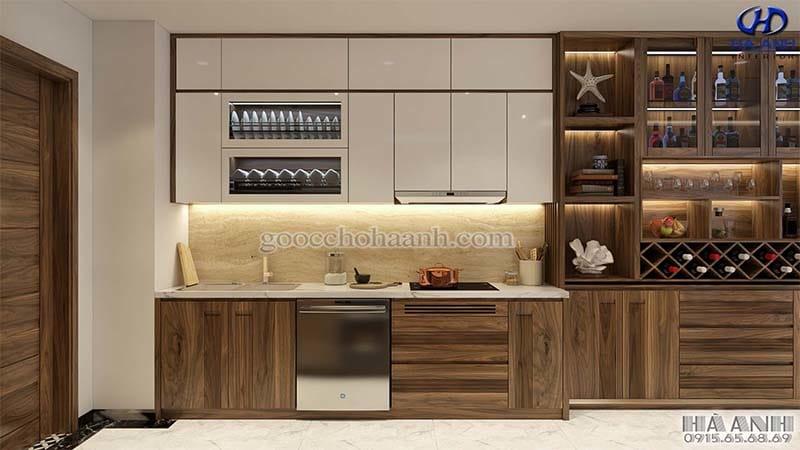 Tủ bếp gỗ óc chó HB 605