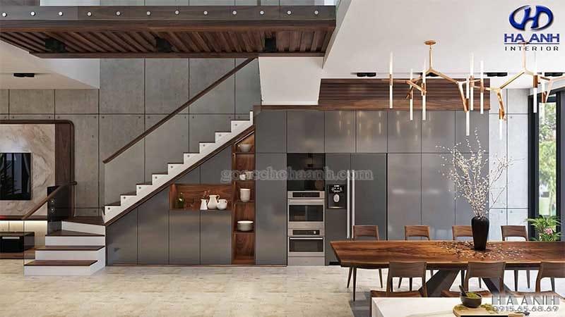 Tủ bếp gỗ óc chó tự nhiên HB 609