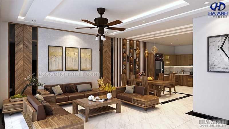 Sofa gỗ óc chó tự nhiên HK 6013
