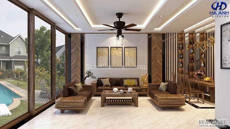 Mẫu Sofa gỗ óc chó HK 6013