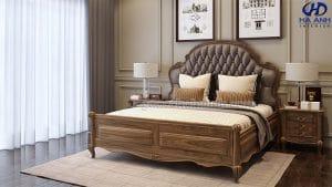 Giường ngủ tân cổ điển gỗ óc chó HNC 601