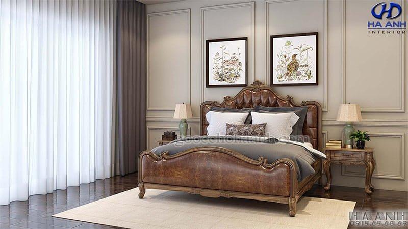 Giường ngủ tân cổ điển gỗ óc chó HNC 602