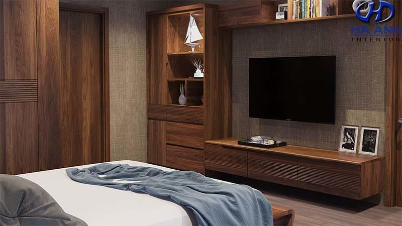 Mẫu kệ tivi gỗ óc chó lửng trong phòng ngủ